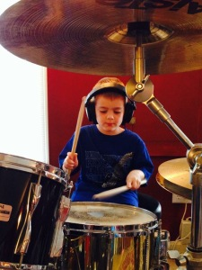 Alex and his Pearl drum set